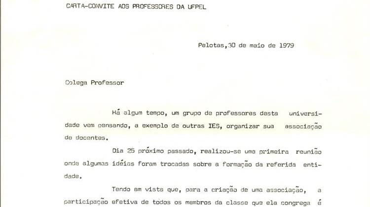 Carta convite da Criação da ADUFPel em 1979.