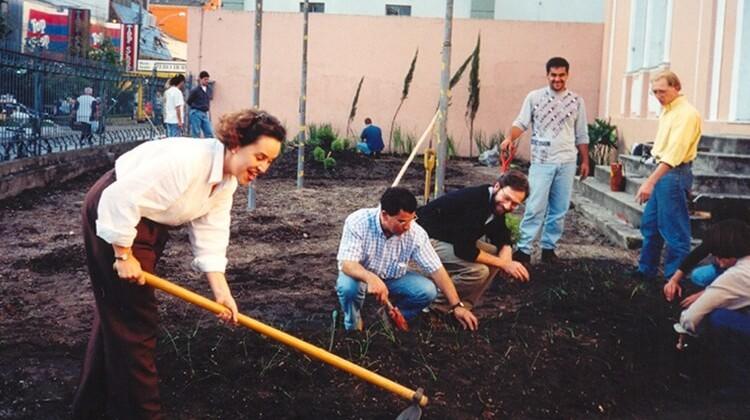 Jardim da greve em 1998.