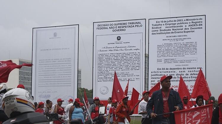 Luta em defesa do registro sindical do ANDES em 2008.