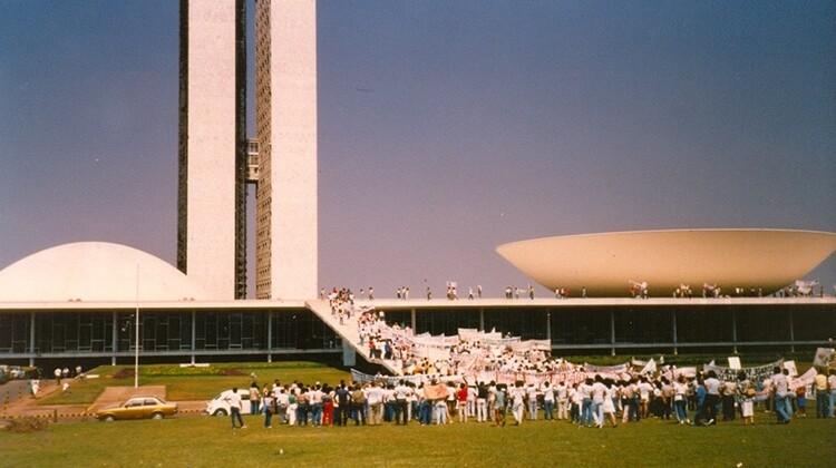Mobilização em Brasília em 1986.