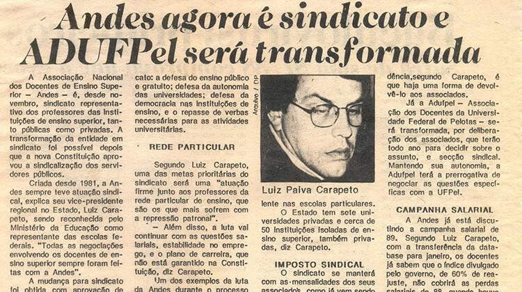 Notícia da transformação do ANDES em sindicato em 1990.